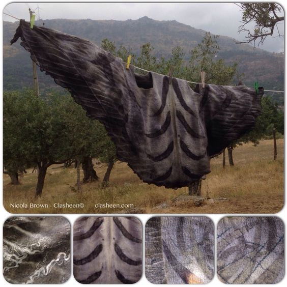 Felted and printed by Nicola Brown - Clasheen during a two week teaching break at Dominio Vale do Mondego in Portugal, June 2014.