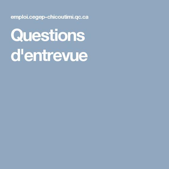 Questions d'entrevue