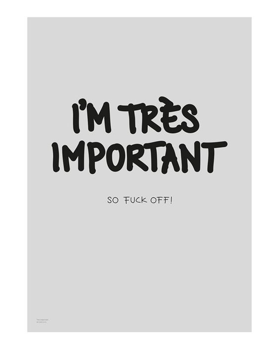 I'm très important. So fuck off! Limited art print of 200. - My Deer Art Shop @mydeer