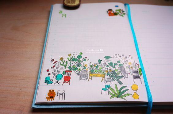 20140820【昨天的手帳布置】 主題是:坐在花圃裡野餐。