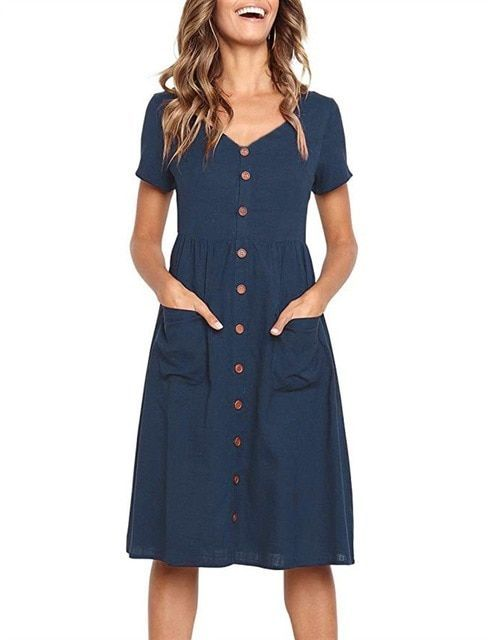 TWGONE Floor Length Short Sleeve Dress Womens O Neck Casual Pockets Loose Party Dress