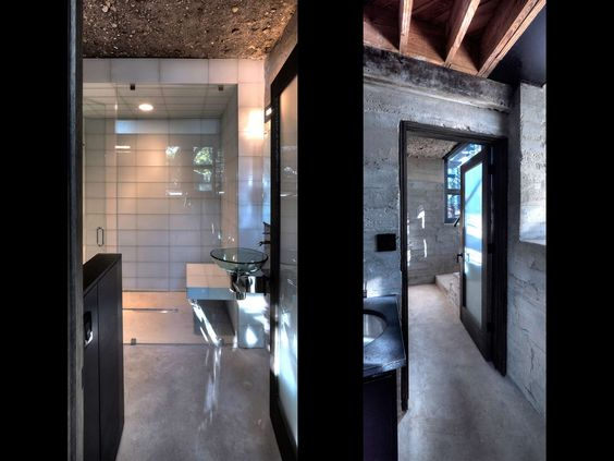 Minimalist-Style-Modern-Interior-Bathroom-Design-with-Unique-Round-Glass-Sinks-and-Corner-Shower-Room-also-Wooden-Ceiling-Design-for-Importa...