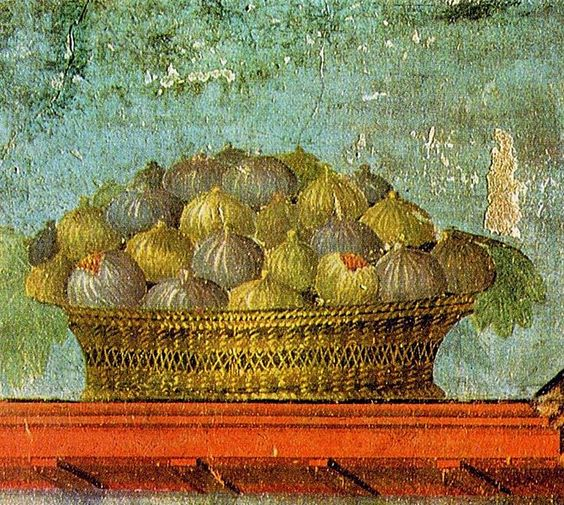 Basket of figs:  Roman fresco (before 79 AD) from the Villa of Poppea in Oplontis (Pompei region):