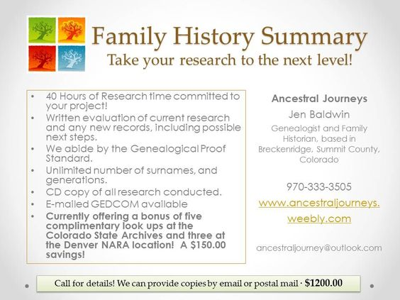 Family History Summary provided by Ancestral Journeys. http://ancestraljourneys.weebly.com/research-packages.html