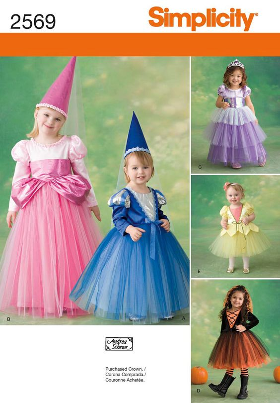 Sew Disney Inspired - Who remembers the 3 Fariy God-Mothers in Sleeping Beauty???  - Perfect for your smaller Flower girl - 2569 Toddler & Child Costumes -  Toddler & child princess costumes - dress, crown and belt sewing patterns.  -    Simplicity : 2569