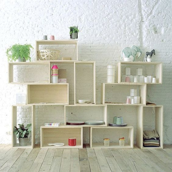 Repurposed wood box crate case modern cube modular unit stacked tiered open shelf storage bookshelf organization plain simple roomdivide