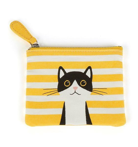 Monedero de tela rayas amarillas Gato