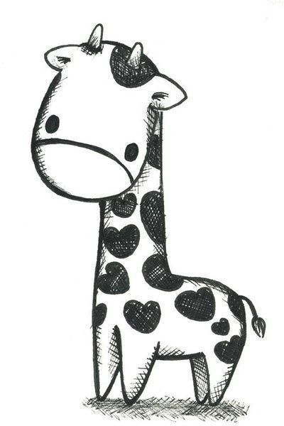 Image Result For Easy Things To Draw Kawaii Animals Baby Animal Drawings Giraffe Drawing Cute Animal Drawings