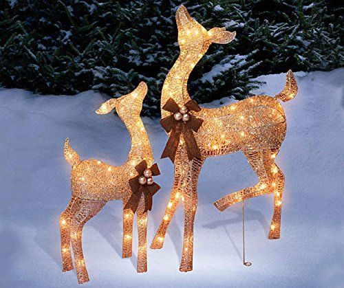 Pre Lit Glittering Champagne Doe And Fawn Deer 2 Piece Lawn Christmas Decor Outdoor Christmas Decorations Christmas Lawn Decorations Christmas Yard Decorations