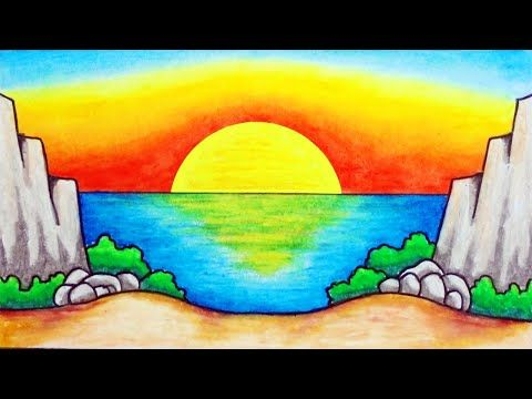How to Draw Easy Natural Scenery Pictures of Sunsets in the Sea Youtube How to Draw Easy Drawings of Scenery Tutorials
