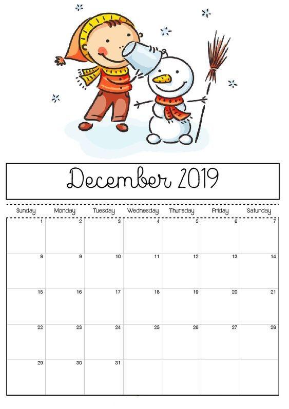 Calendarios 2019 Para Niños Para Descargar E Imprimir Información Imágenes Calendario Para Niños Calendario De Diciembre Calendario