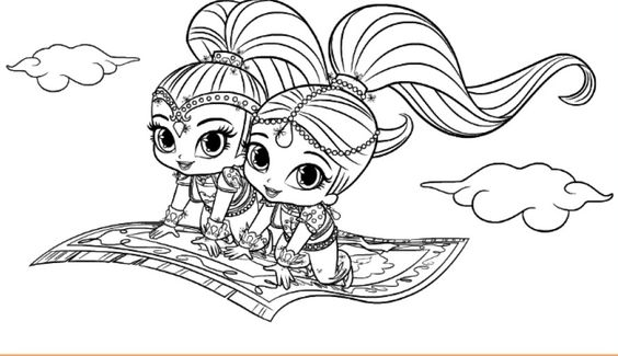 Nick Jr Coloring Pages Shimmer And Shine : Shimmer and shine coloring disney pages