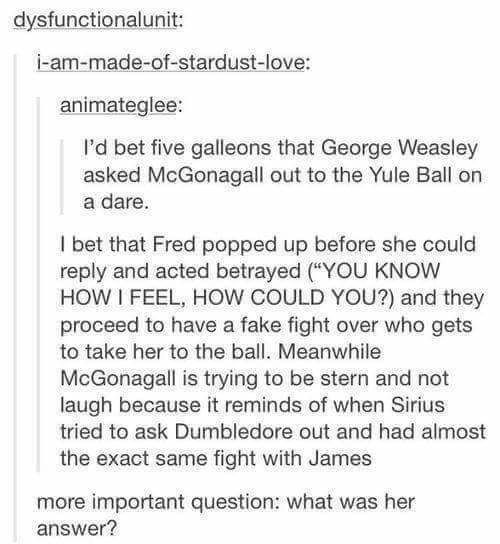 Fred and George absolutely messed with McGonagall at every opportunity. | 23 Things That Definitely Happened In The Harry Potter Universe