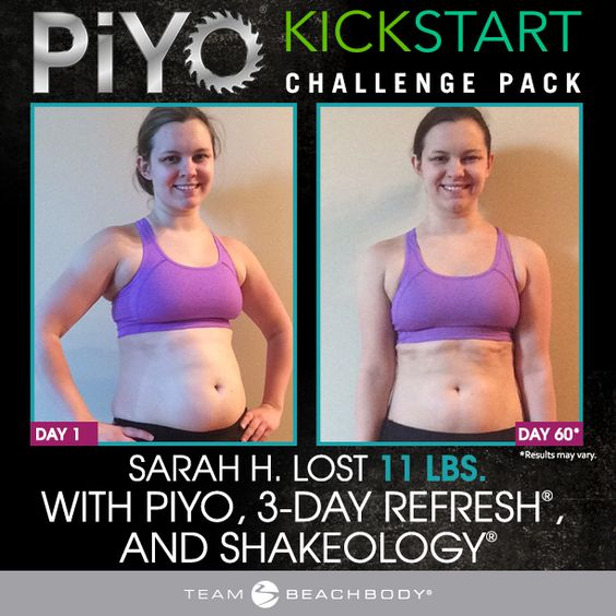 The PiYo Kickstart Challenge Pack includes the 60-day PiYo program, one full month's supply of Shakeology, and the 3-Day Refresh kit.
