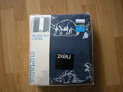 Blackout Curtains boys blue blackout curtains : NEXT DINOSAUR PENCIL PLEAT BLACKOUT LINED BOYS BLUE CURTAINS ...
