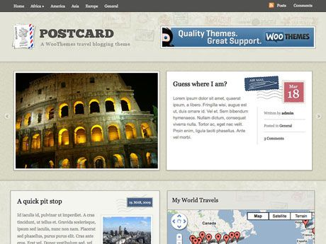 Postcard is a beautiful travel-blogging theme with neat Google Maps integration allowing you to geo-tag posts with locations and display your recent travels on widgetized maps. Its packed full of all the functionality a traveller needs to publish news and photos for friends and family back home.