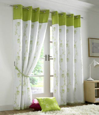 Green Curtains amazon green curtains : Lime Green Curtains - Eyelet Lined Voile Tahiti - 56'' x 90'' by ...