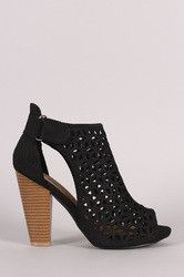 Perforated Slit Chunky Heel Booties