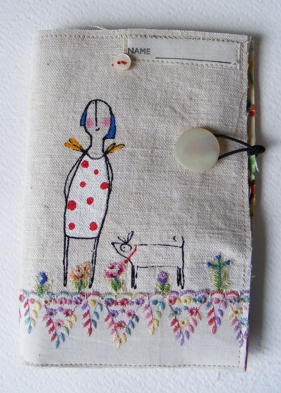 Handmade screen printed Needlecase Hand embroidered flower garden Lavinia and Dirk her dog. $39,50, via Etsy.:
