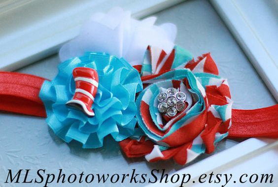 The Cat in the Hat Birthday Girl Headband - Dr. Suess Red, White & Blue Hair Bow - Cat in the Hat Charm Flower Headband or Hair Clip