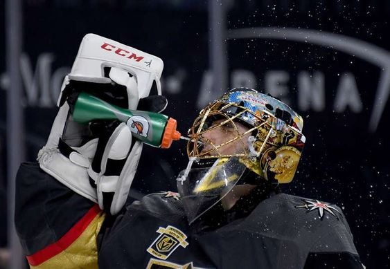 Las Vegas Nv January 02 Marc Andre Fleury 29 Of The Vegas Golden Knights Takes A Drink During A St Vegas Golden Knights Golden Knights Pittsburgh Penguins
