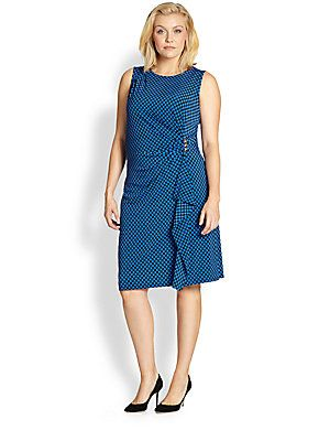 MICHAEL MICHAEL KORS, Salon Z Checkered Cascade Dress