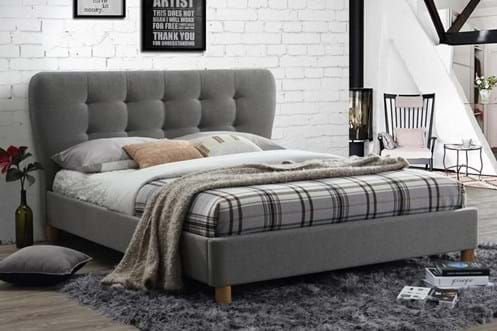 Double Stockholm Low Grey Fabric Bed Frame With Hardwood Legs