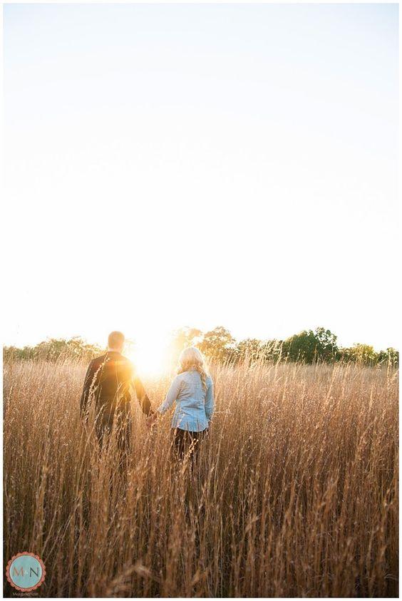 Sunset engagement photos, tall grass, engagement photos in field