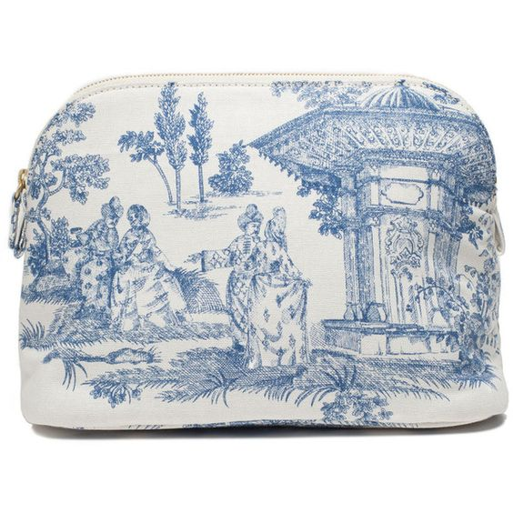Available in Small, Medium, Large and Set of All 3. Cotton zip-top cosmetic bag. White/Blue. Interior pocket. Leather lining. Made in Turkey. Dimensions: Small:...