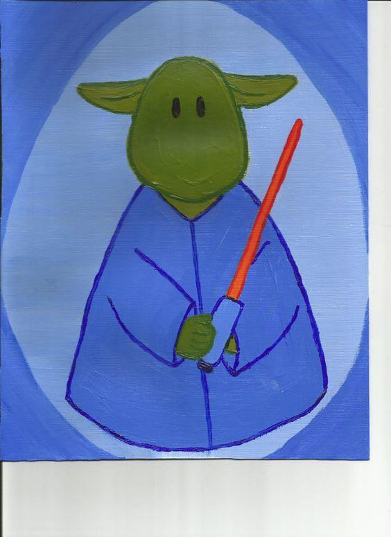 Yoda Original Illustration by maddierosedoodles on Etsy, $18.00