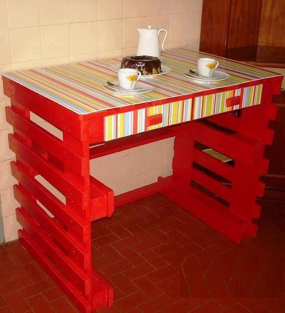 20 ideas para fabricar muebles con pal s de madera para la - Mesa para fabricar palets ...