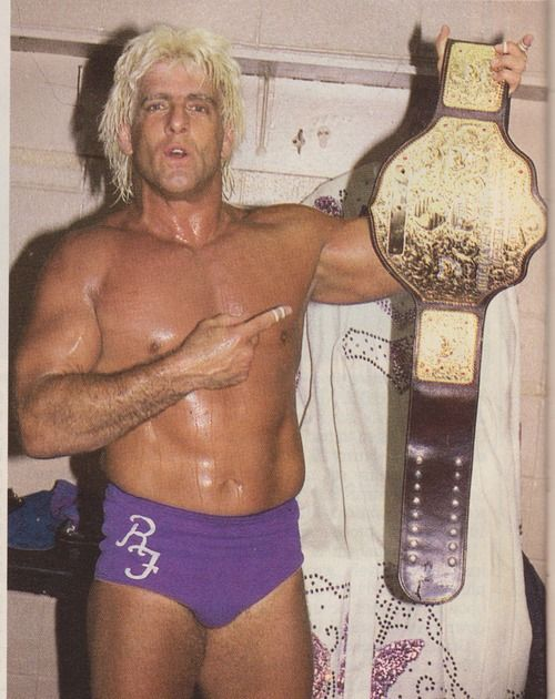 """Nature Boy"" Ric Flair with the NWA/WCW World Heavyweight Championship"