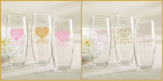 Pink & Gold Baby Shower Glassware - Champagne Glass from HotRef.com