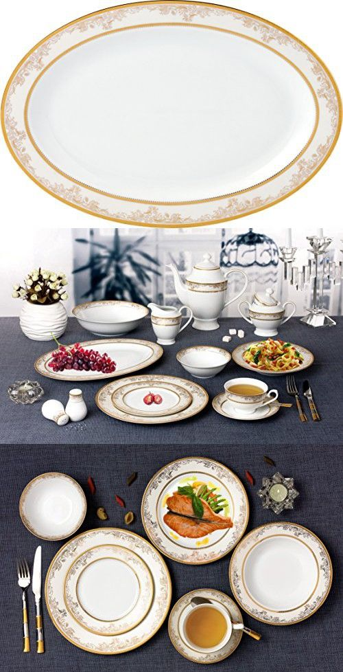 Lorren Home Trends 57 Piece Chloe Bone China Dinnerware Set Service For 8 People Gold Bone China Dinnerware China Dinnerware Sets Home Trends