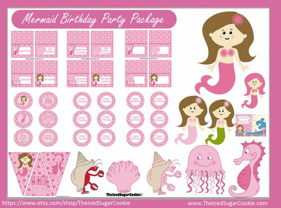 Pink Mermaid Under The Sea Birthday Party Printables Digital Download Cupcake Toppers Food Label Tent Cards Flag Banners Jellyfish, Mermaids, Crab, Sea Shells, Sea Horse by The Iced Sugar Cookie-Birthday Party Printable Party Package Kit Download-Dibujos para la fiesta de cumpleaños de la sirena  Mermaid lā hānau aoao Paʻi  Zeemeermin verjaardagsfeestje printables  인어 생일 파티 printables  sirèn printables pati anivèsè nesans  sereia printables festa de aniversário  nàng tiên cá printables bữa…
