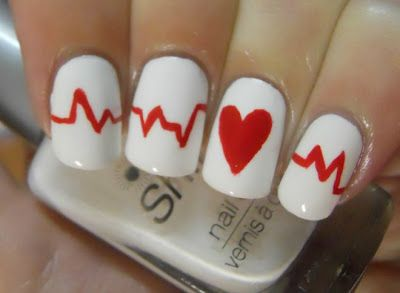 Very cute nail design for ekg, cardiac nurse, echo, holter lab, etc..