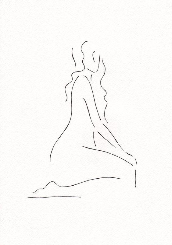Minimalist drawing. Black and white nude figure. Original artwork. A4 8.3 x…