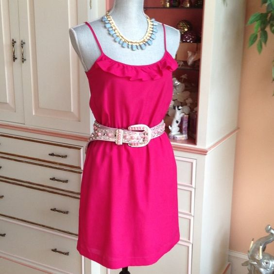 XX1 pink spaghetti strap dress Cute little dress. Pretty bright deep pink. A little ruffle at bust line XX1 Dresses