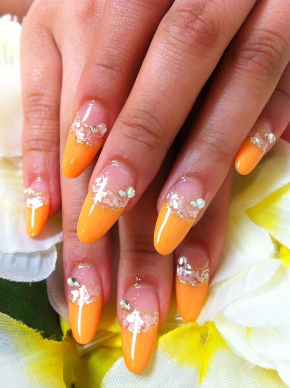 Orange x Shell French Nails by Ayano