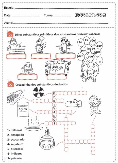 Atividades De Substantivos Com Imagens Atividades Substantivos