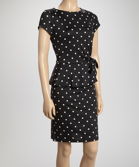 Black & White Polka Dot Bow Peplum Dress