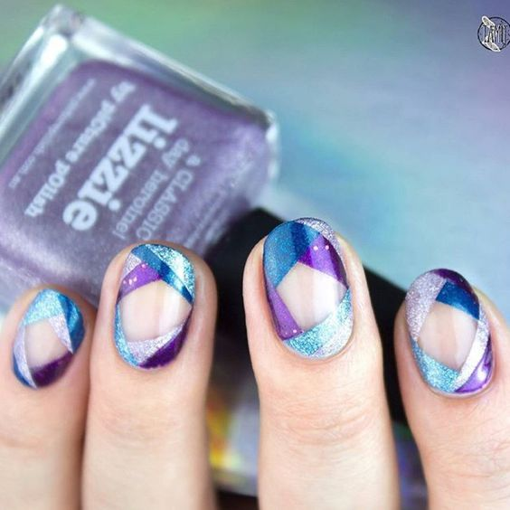 Artist: Paulina aka @tamiit24 Theme: Geometric PP Shades: Lizze + Bette + Ultra Violence & Moody Blues Event: PP Nail Art Quarterly 2/2015 www.picturepolish.com.au