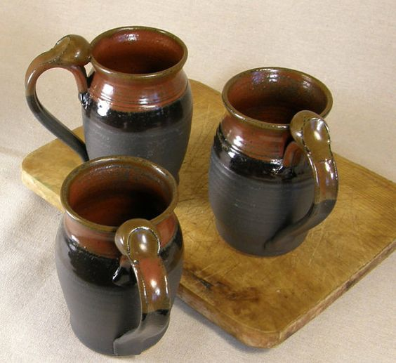 Set of Four Ceramic Pottery Coffee Mug in by Meadowlandspottery, $64.00