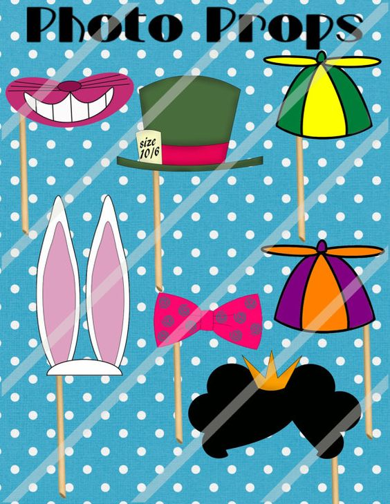 Mad hatter tea party alice 39 s wonderland photo props print for Mad hatter party props
