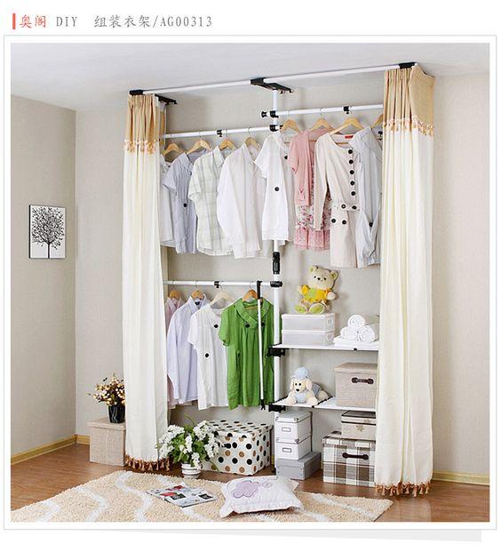 Homemade Closet Wardrobe ~ 包邮衣柜简易布衣柜奥阁组装简易衣柜宜家衣橱韩式收纳钢架衣架子 creative large wardrobes