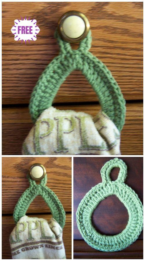 Crochet Hanging Ring Towel Holder Free Crochet Patterns Crochet Towel Topper Crochet Kitchen Towels Crochet Dish Towels