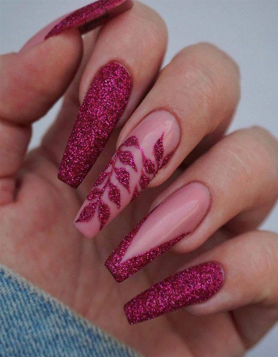 Charming Style Of Long Coffin Nails For Glamorous Girls In 2020 Nail Designs Glitter Coffin Nails Designs Pretty Acrylic Nails