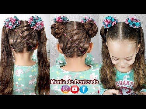 Penteado Infantil Com Coque Duplo Easy Buns Hairstyle For Girls Coiffures Simples Avec Chignons Youtu Easy Bun Hairstyles Coiffure Simple Girl Hairstyles