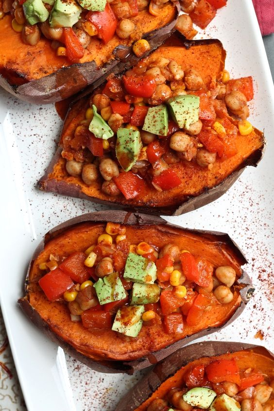 Baked Sweet Potatoes Stuffed with Chickpea Chili - spicy chili goes ...