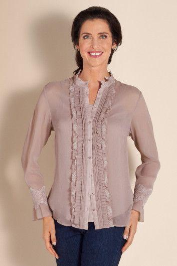 Antonia Shirt & Cami - Womens Shirt & Camisole, Matching Cami, Lace Trim, Ruffle Shirt | Soft Surroundings
